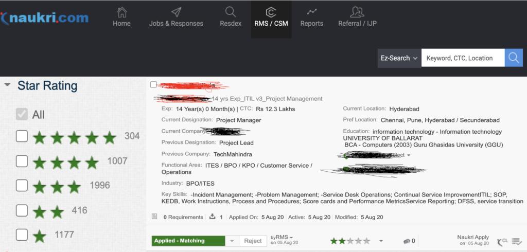 Recruiter View of Naukri resume