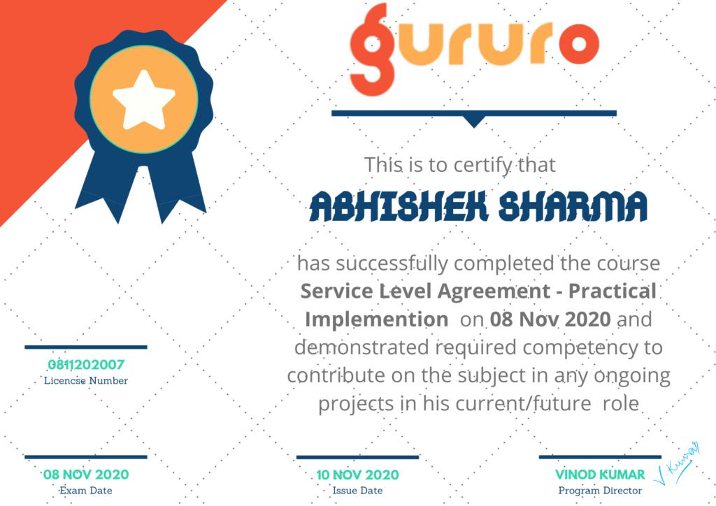 SLA - sample certificate