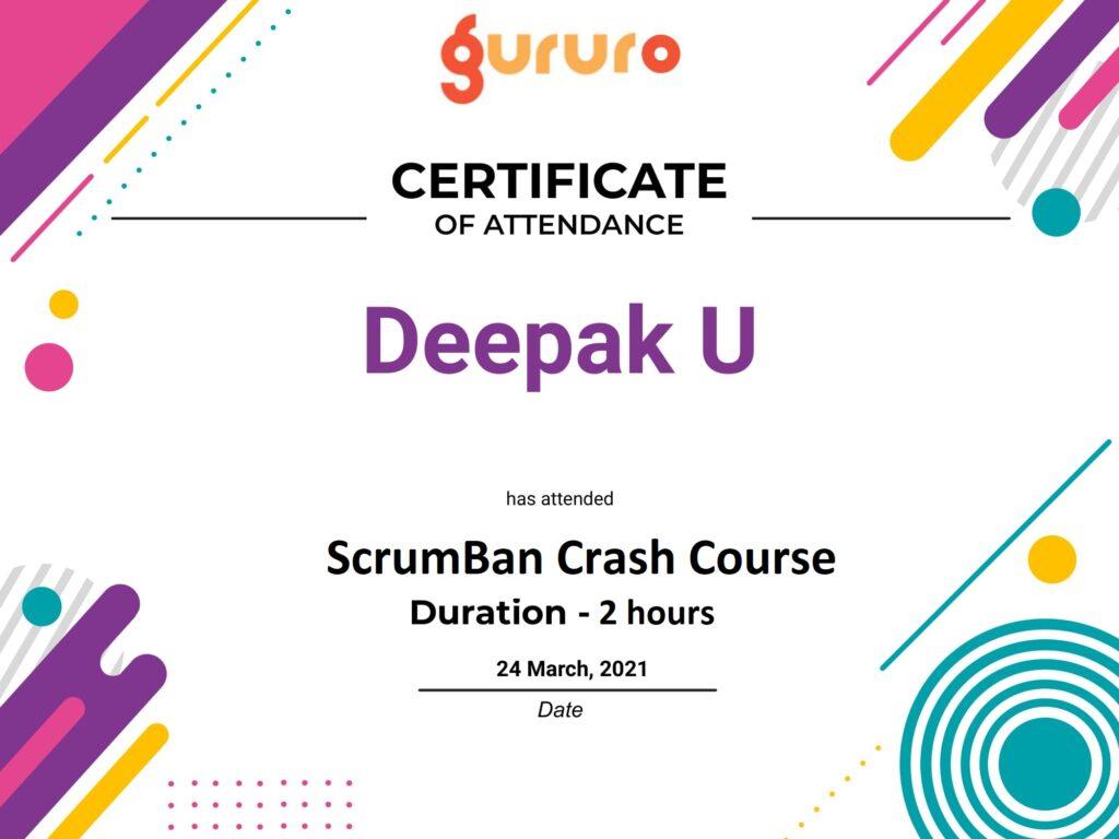 ScrumBan Course training certificate