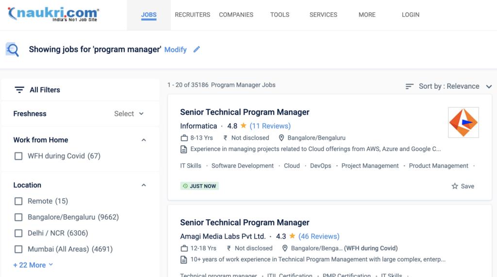 Naukri - Program manager job search result