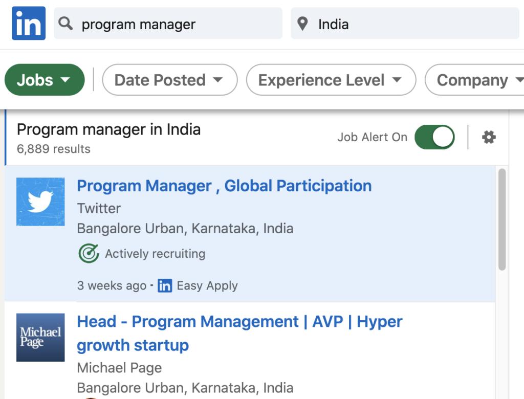 LinkedIn Program Manager job search results