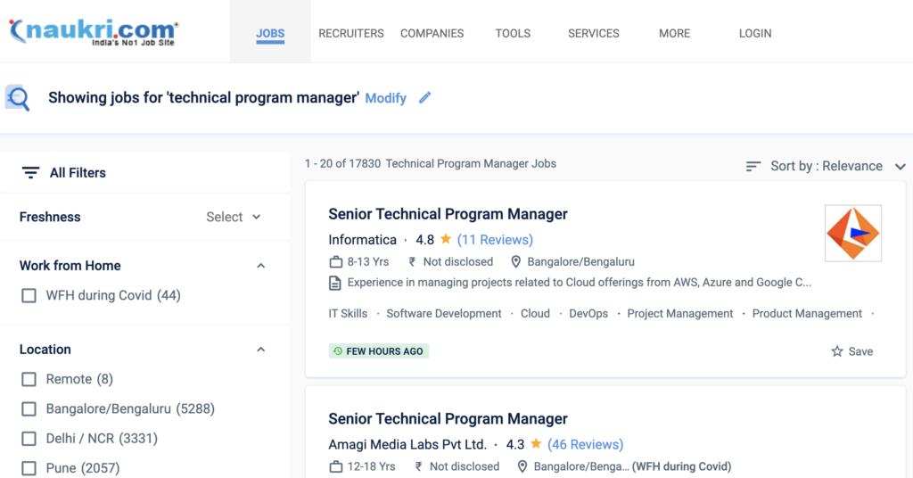 Technical Program Management job search on naukri
